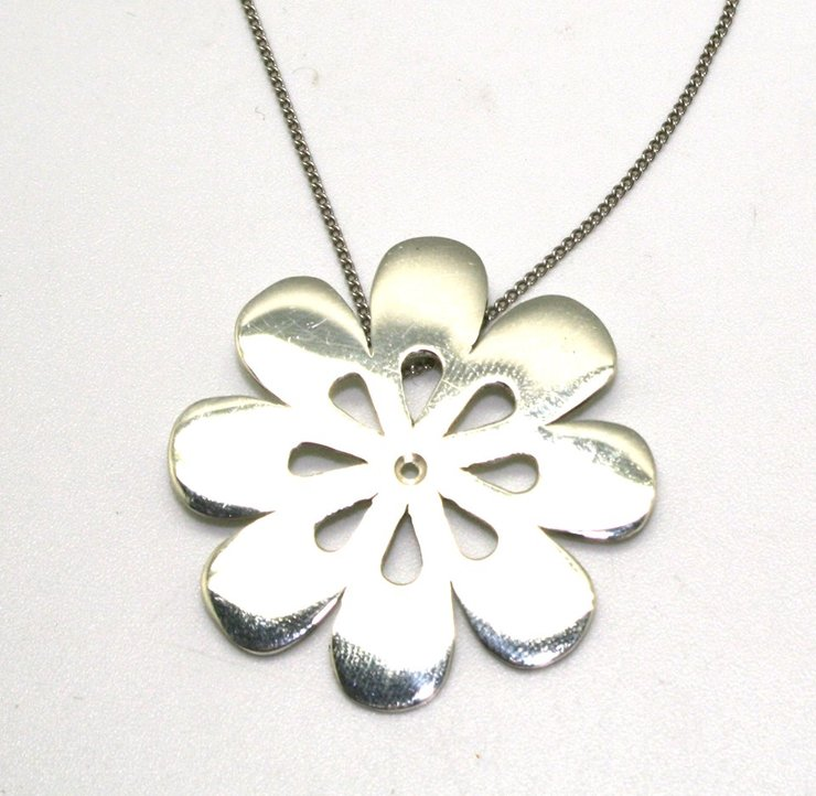 Sterling silver flat flower pendant on chain. JP02/01 by Maryse Castel Creations