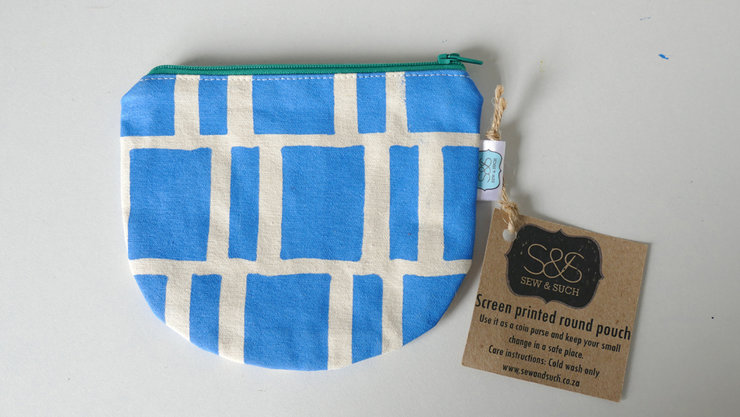 "Round Pouch ""Sky Blue Blocks"" by Sew & Such"