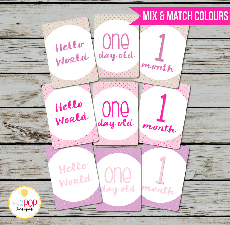 Baby Milestone Cards, Monthly, Photo Prop, First Year, Photo Signs, Print, Instant Digital Download, Girl, Pink, Purple, Coral by EyePop Designs