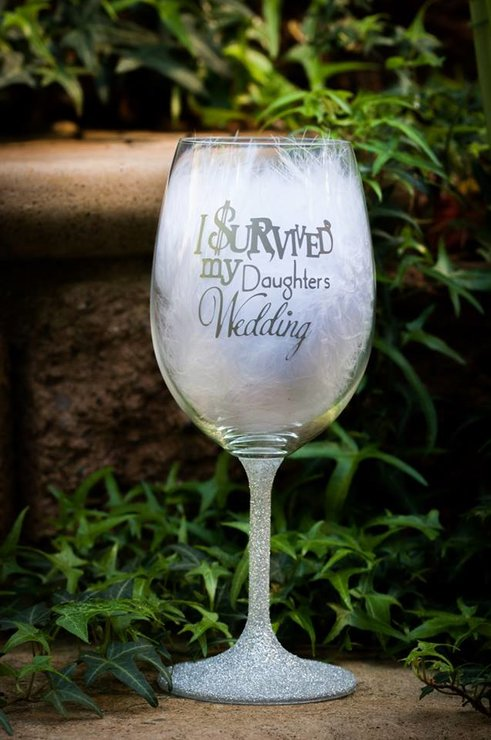 Father of the Bride Wine glass / Survived my daughters Wedding Wine glass by Glitter Bug SA