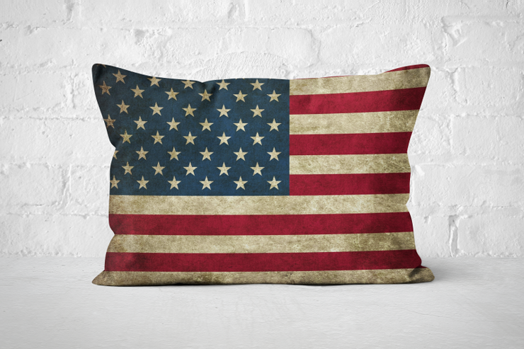 Vintage Flag A3 Pillow   by But Why Not