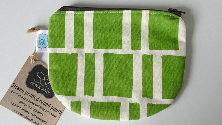"Round Pouch ""Lime Blocks"" by Sew & Such"