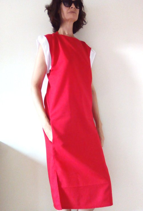 Chloé red dress, red maxi dress, dress with pockets, cuffed sleeve dress, dropped shoulders, red dress, special occasion, own design. by Ant At Home