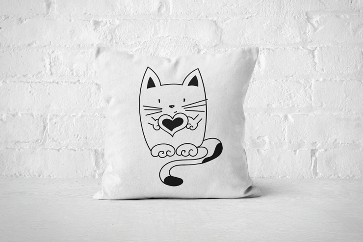 Heart Cat - Pillow Cover by But Why Not
