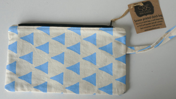 "Clutch Bag ""Pale Blue Triangle"" by Sew & Such"