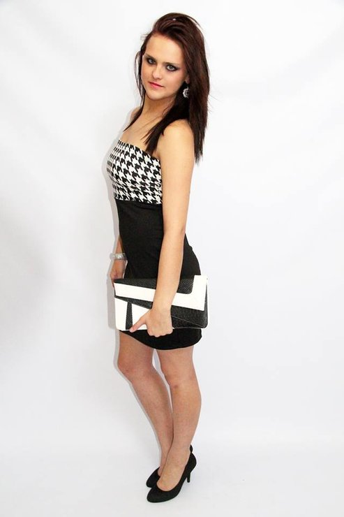Houndstooth Boobtube dress by Kattwalk Clothing