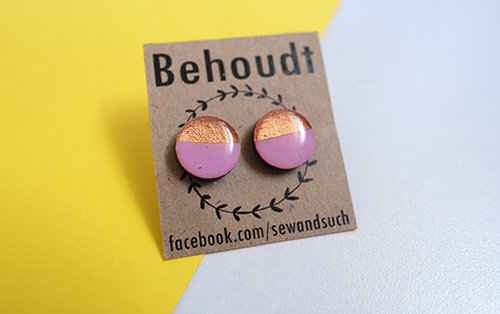 Lilac and Gold wooden earrings by Sew & Such