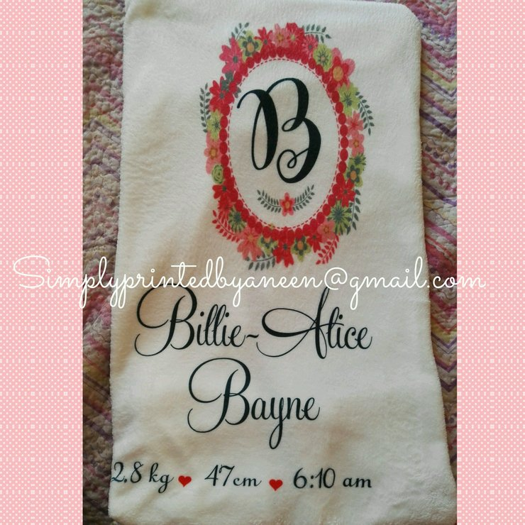 Baby blanket by simplyprinted showers personalised baby blanket by simplyprinted showers negle Choice Image