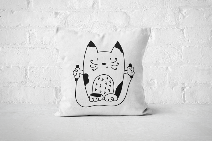 Jump Rope Cat - Pillow Cover by But Why Not