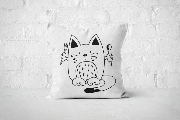 Ready to Eat Cat - Pillow Cover by But Why Not