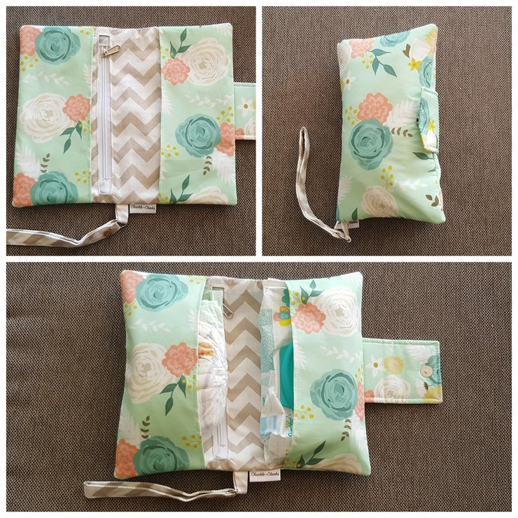 Floral Mint Nappy Wallet by Chuckle Cheeks Boutique