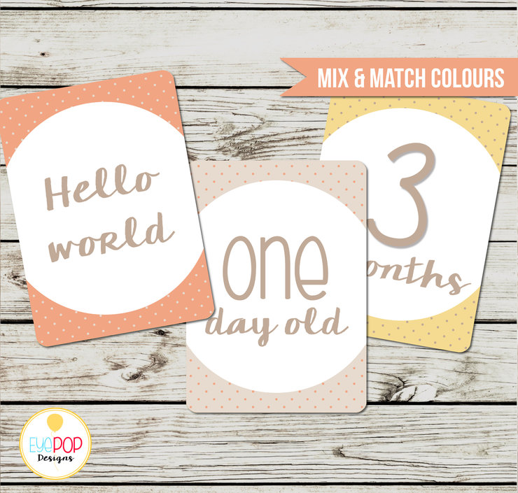 Baby Milestone Cards, Gender Neutral, Monthly, Photo Prop, First Year, Photo Signs, Print by EyePop Designs
