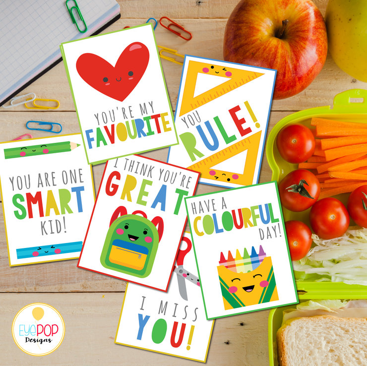 Lunch Box Cards, Printable Lunch Box Notes for Kids, Back to School Notes, Assorted Lunch Box Notes, Boy, Girl, Bright by EyePop Designs