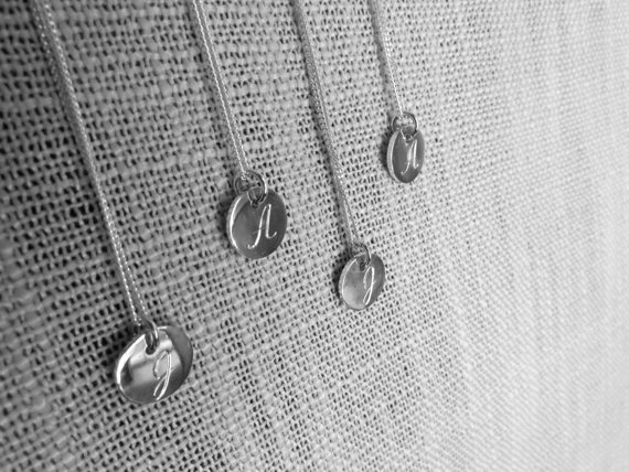 initial engraved disc necklace by thula