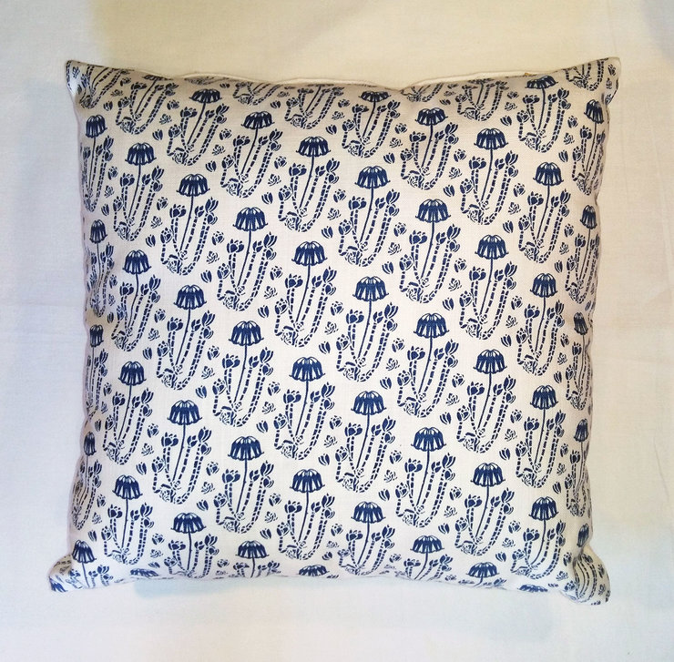 Blue Cotyledon scatter cushion cover by Quagga Fabrics and Wallpapers