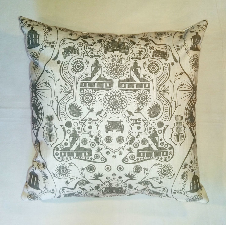 Gray Beetle and Lighthouse scatter cushion cover by Quagga Fabrics and Wallpapers