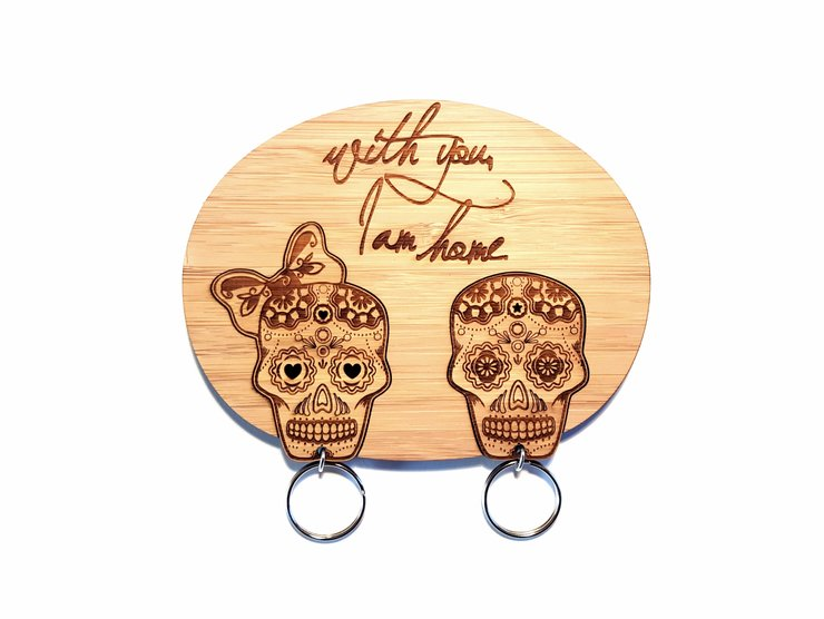 Sugar Skull Bamboo Keychain Set by HALLO JANE