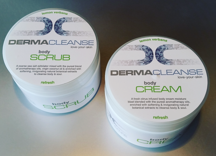 Dermacleanse LEMON VERBENA body scrub & body  cream combo by DERMACLEANSE