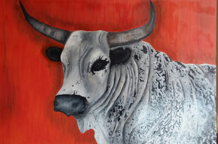 Nguni Oil Painting by Paula Kruger