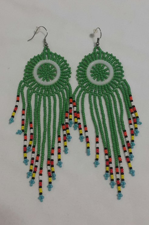 Green long beaded disc earrings  by 4EverCaptivating