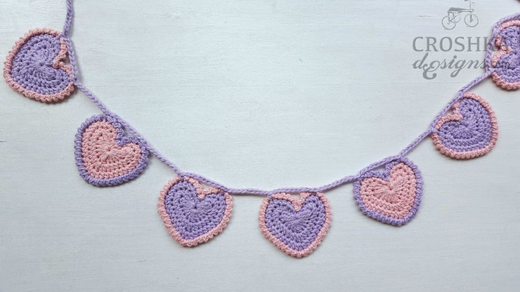 Crochet heart bunting - Made to Order! by Croshka Designs