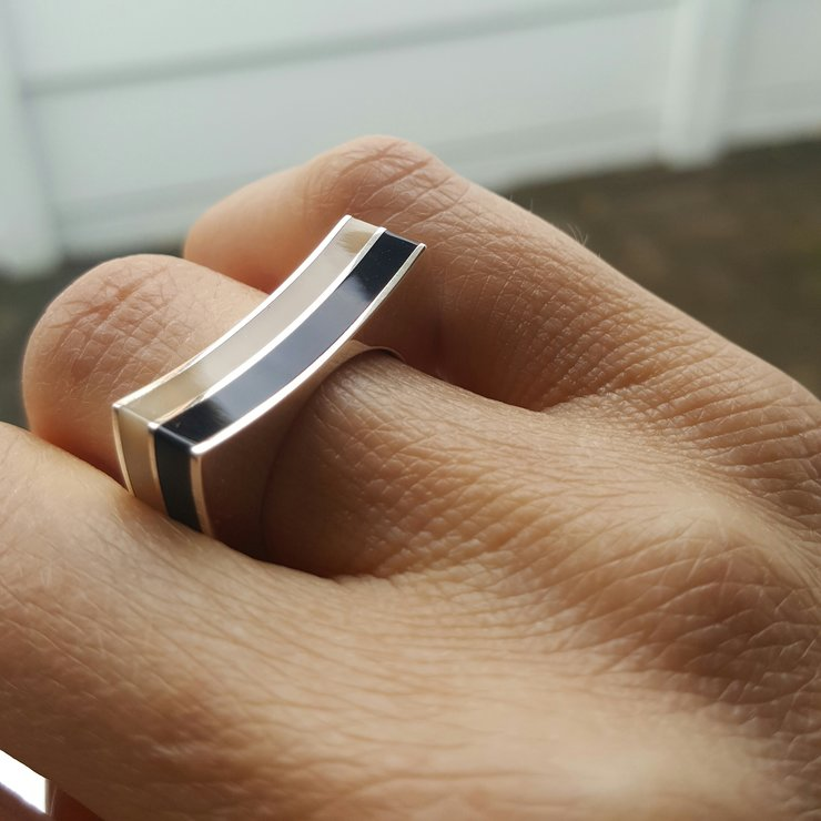 Black and cream Signature ring by LOTTI Jewellery