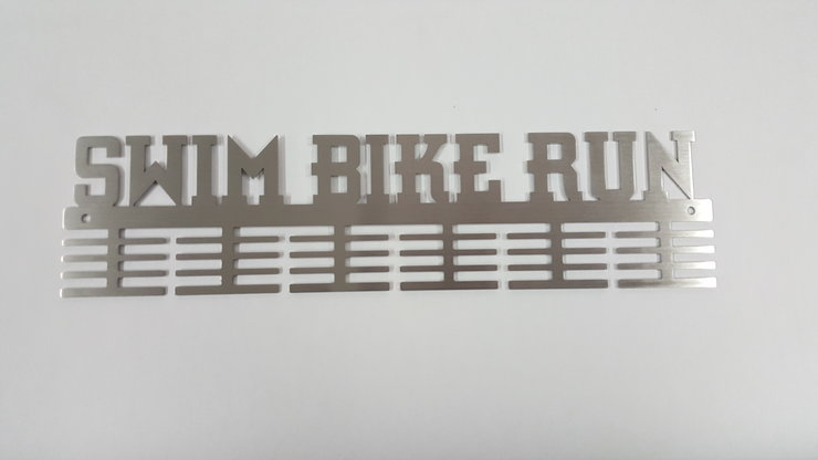 SWIM BIKE RUN medal hanger in Stainless steel brush finish by Medal Hanger & Home Décor Specialists - DC Designers