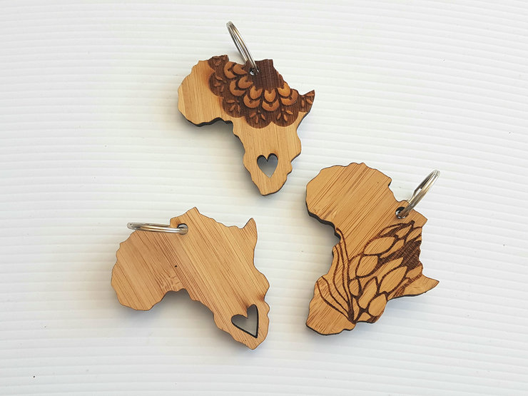 Various Africa Bamboo Keychains by HALLO JANE