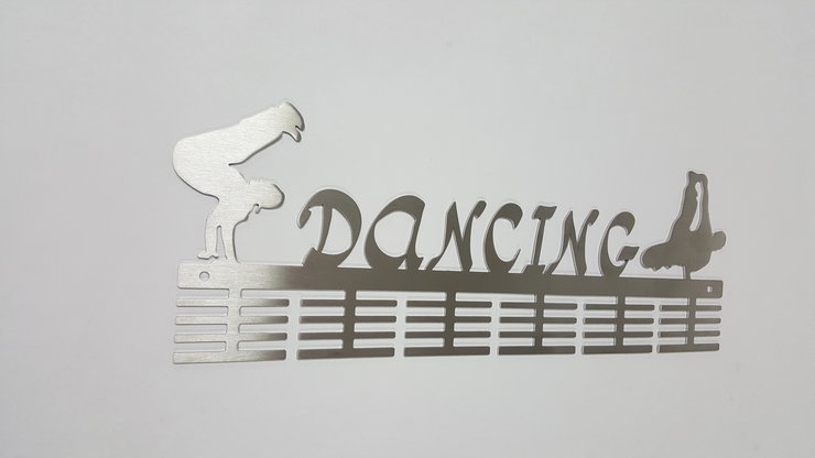 Hip Hop Dancing 48 tier medal hanger in Stainless steel brush finish by DC Designers-Medal Hanger Specialists