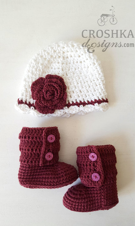 SET: Handmade crochet hat and baby ankle booties by Croshka Designs