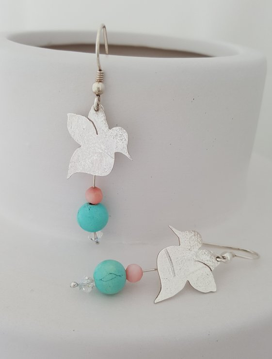 Silver Sunbirds in Flight Earrings by La Mae Jewellery