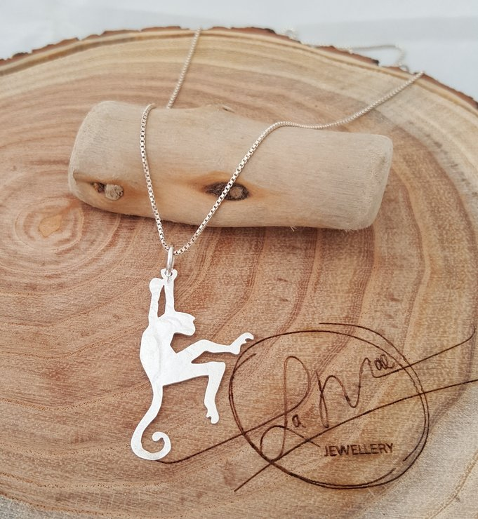 Playful Monkey Pendant - Sterling Silver by La Mae Jewellery