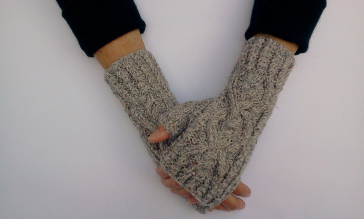 Grey Knitted Fingerless Gloves by Bitty Creations