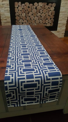 Table Runners Table Clothe Blue White Table Runner Fret Style