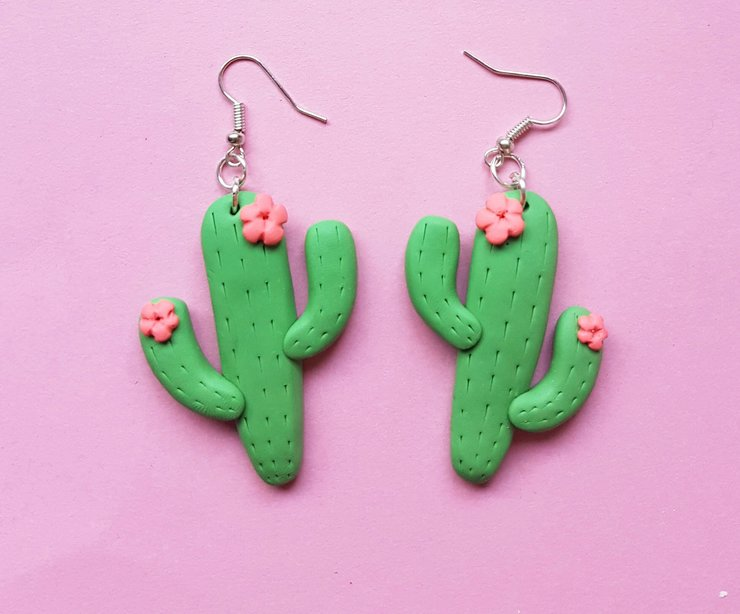 Extra Large Cactus Earrings by turkey dimple