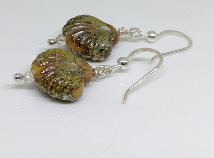 Shell glass art earrings by Honeydog Designs