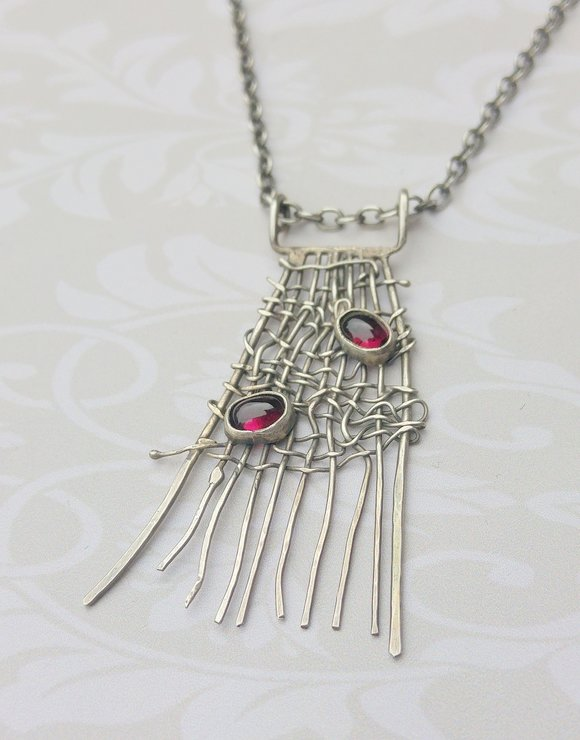 Handmade Sterling Silver Pendant with Garnets with chain by Cecilia Robinson Jewellery