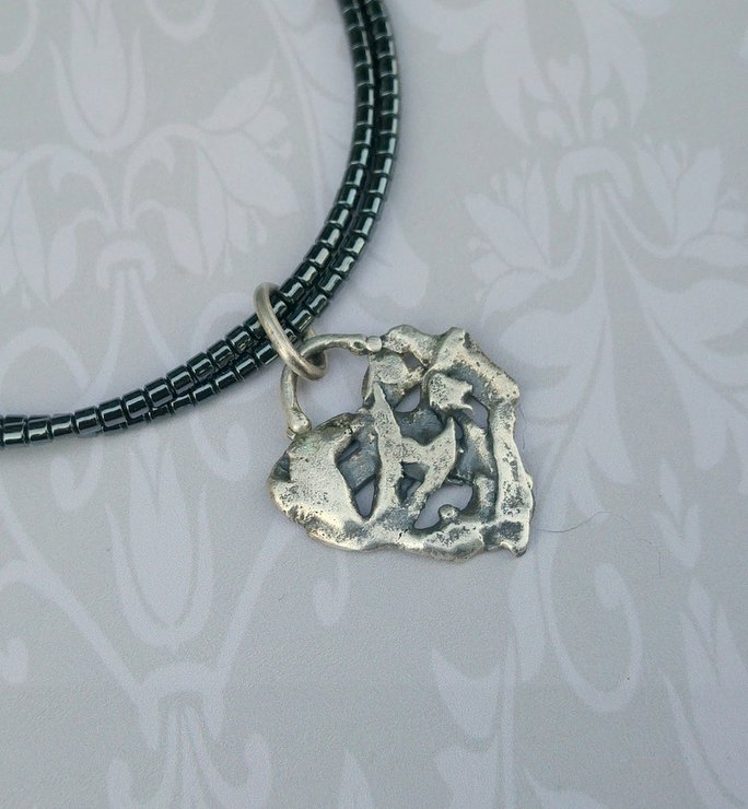 Forged Stirling Silver Heart Pendant by Cecilia Robinson Jewellery
