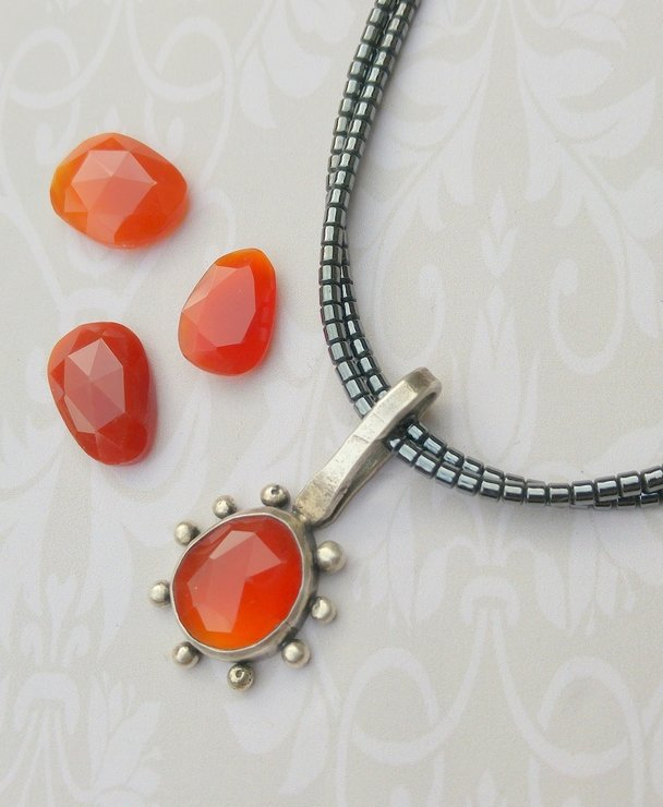 Carnelian Handmade Stirling Silver Pendant with Hemetite necklace by Cecilia Robinson Jewellery