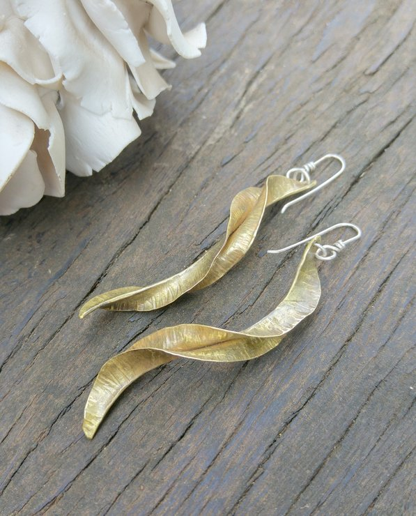 Formfolded twisted long Brass earrings by Cecilia Robinson Jewellery