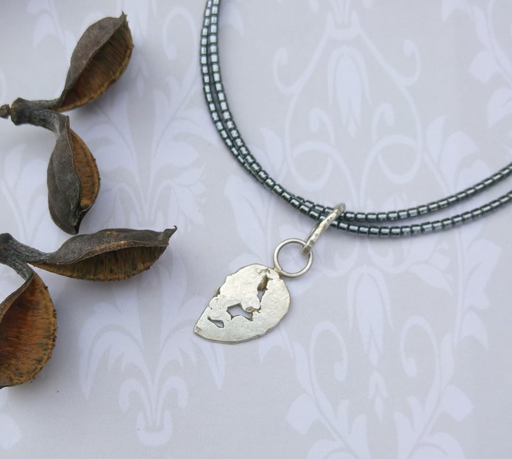 Recycled Stirling Silver Leaf pendant by Cecilia Robinson Jewellery