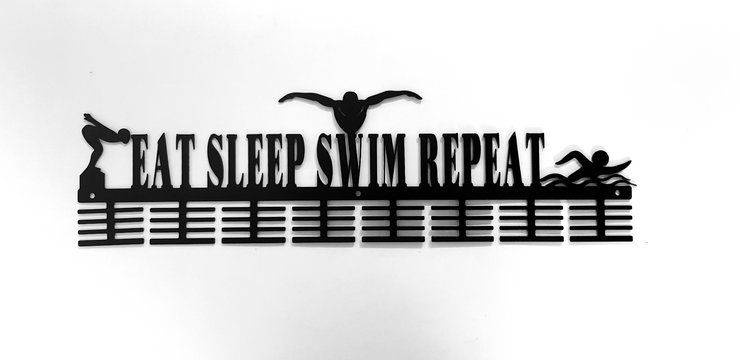 Eat sleep swim repeat 64 tier Swimming medal hanger in Black by Medal Hanger & Home Décor Specialists - DC Designers