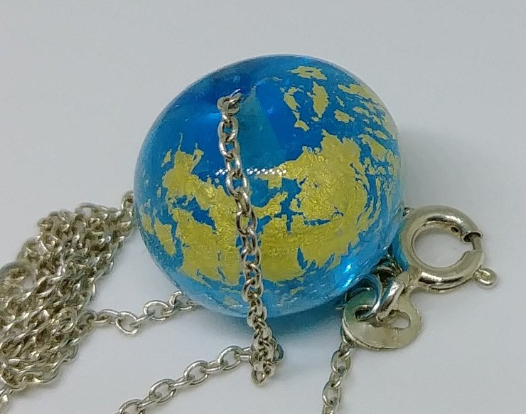Blue and Gold Art Glass Pendant Bead on Sterling by Honeydog Designs