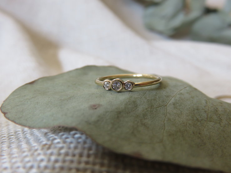Petite Trio of White Diamonds 9k Gold ring by MD Jewellery Design
