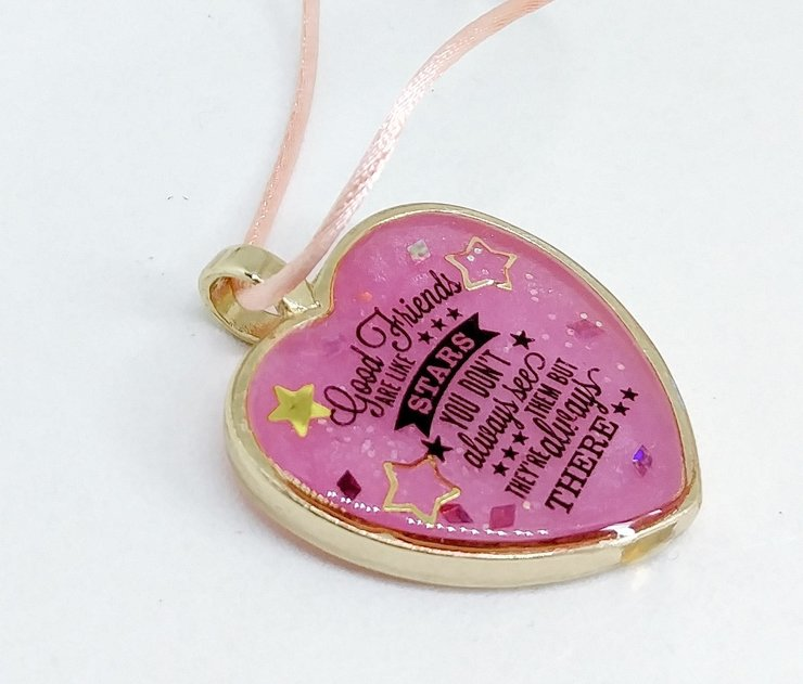 Best Friend Pink Resin Pendant by Honeydog Designs