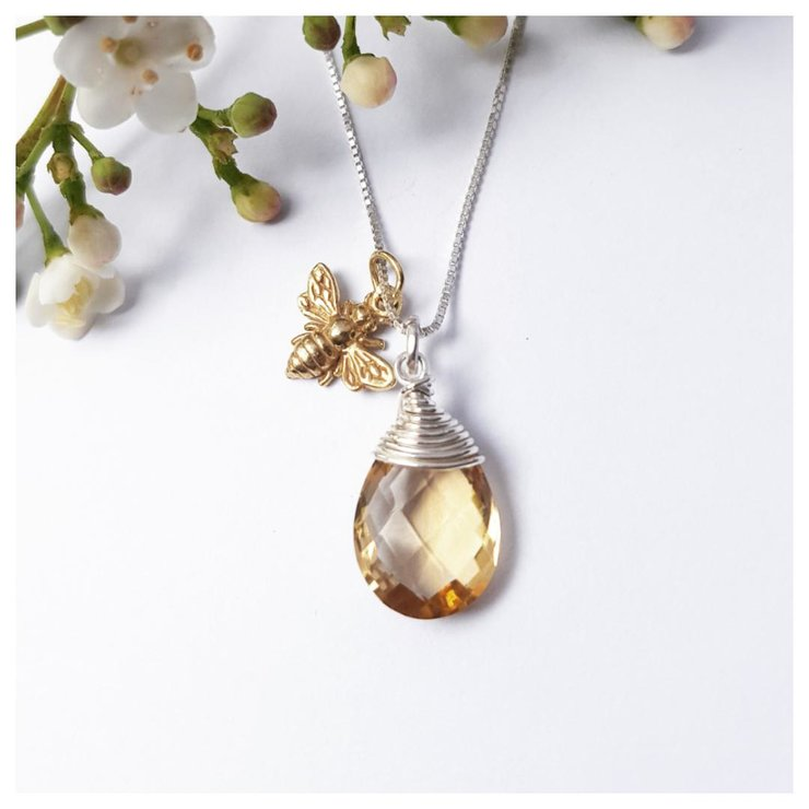 Citrine briolette with gold plated bee by RubyRose Jewellery