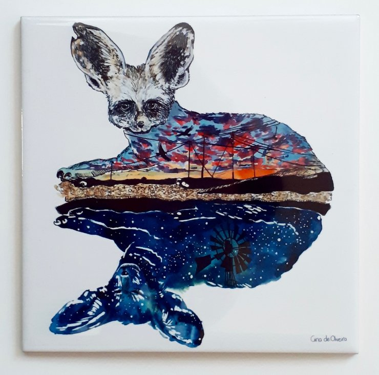 Art Tile Paired Bat Eared Fox By Shongalolo Tiles