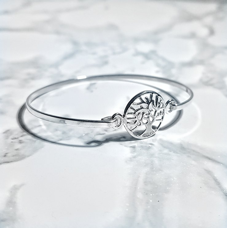 925 Sterling Silver Tree of Life Bangle by Lakota Inspirations