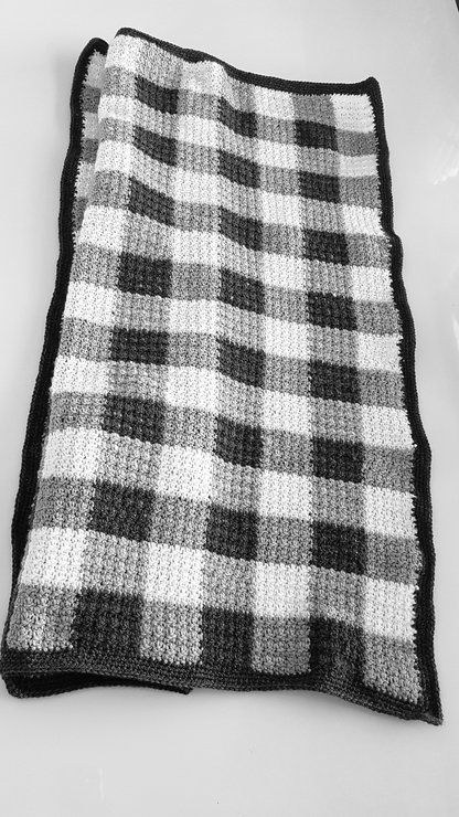 Grey gingham baby blanket by The UPrising
