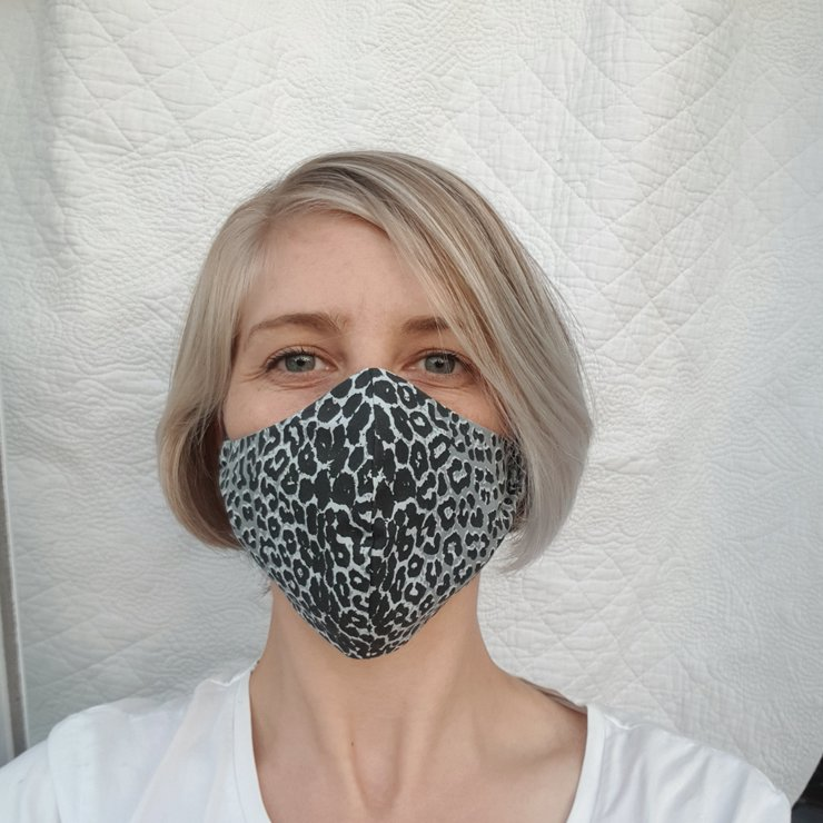 Leopard Print Cloth Mask - Grey/ Stone  by Love Nature